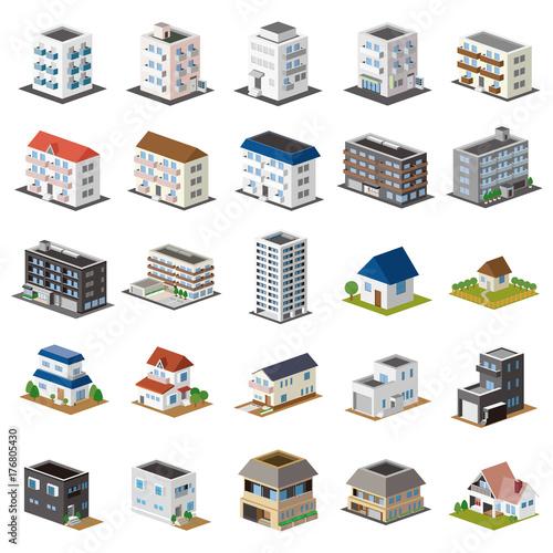 Obraz 3D建物セット 一戸建て・アパート・マンション - fototapety do salonu