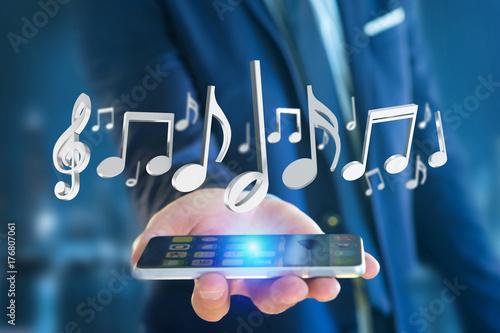 Fototapeta 3d odpłacają się muzyczne notatki na futurystycznym interfejsie