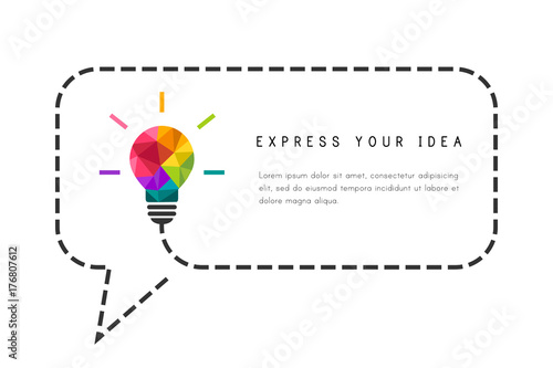 Fotografía  Text frame template with low poly lightbulb and speech bubble as creative idea c