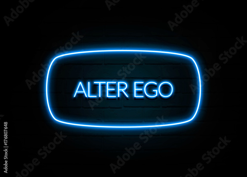 Fotografering  Alter Ego  - colorful Neon Sign on brickwall