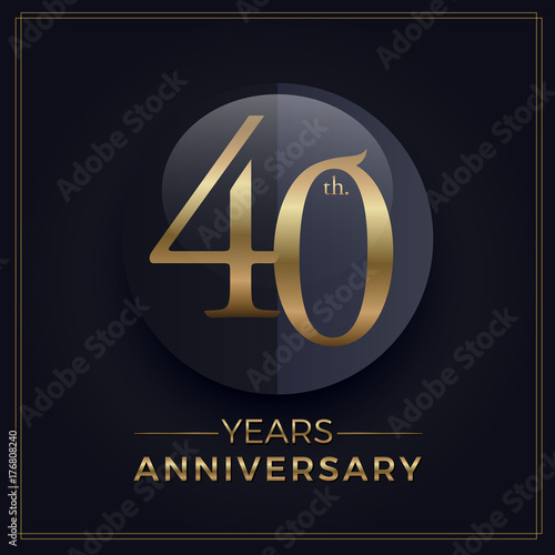 Poster 40 years gold and black anniversary celebration simple logo template on dark bac