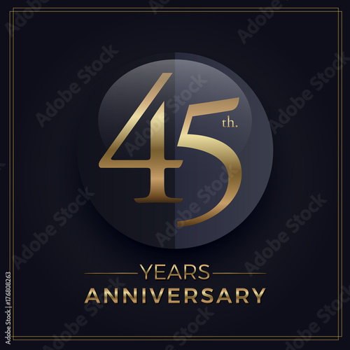 Photographie  45 years gold and black anniversary celebration simple logo template on dark bac