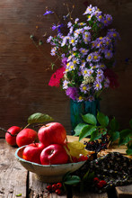 Autumn Still Life With Apples  And Flowers