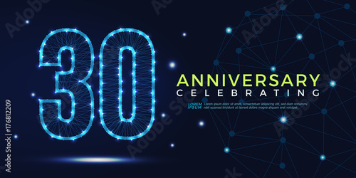 Fotografia  30 years anniversary celebrating numbers vector abstract polygonal silhouette