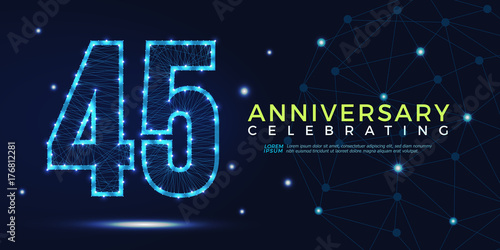 Photographie  45 years anniversary celebrating numbers vector abstract polygonal silhouette