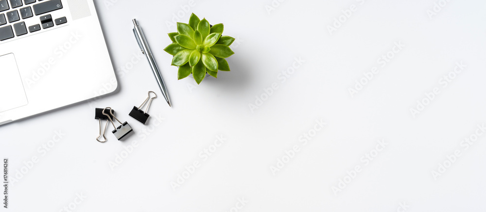 Fototapety, obrazy: Overhead shot of office accessories on white background