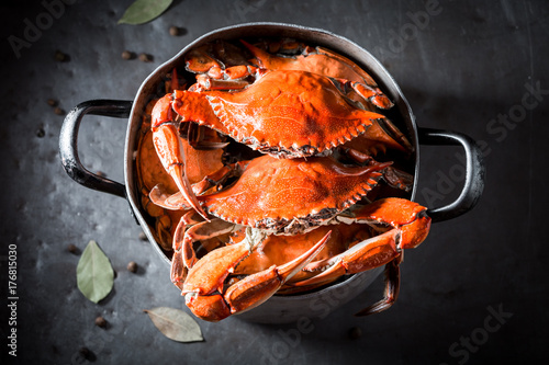 Aluminium Prints Seafoods Preparation for homemade crab in a old metal pot