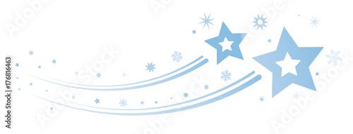 Fotomural Banner Weihnachtliche Dekoration Sterne blau