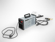 Inverter welding machine with cable for welding electrodes with a blue rear 3d render on a gray background