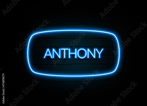 Anthony  - colorful Neon Sign on brickwall Canvas Print