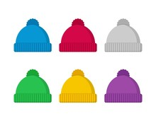 Knitted Hat Winter Set In Flat Style Isolated On White Background. Fashion Accessory Vector Illustration