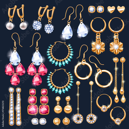 Canvas-taulu Realistic earrings jewelry accessories icons set.