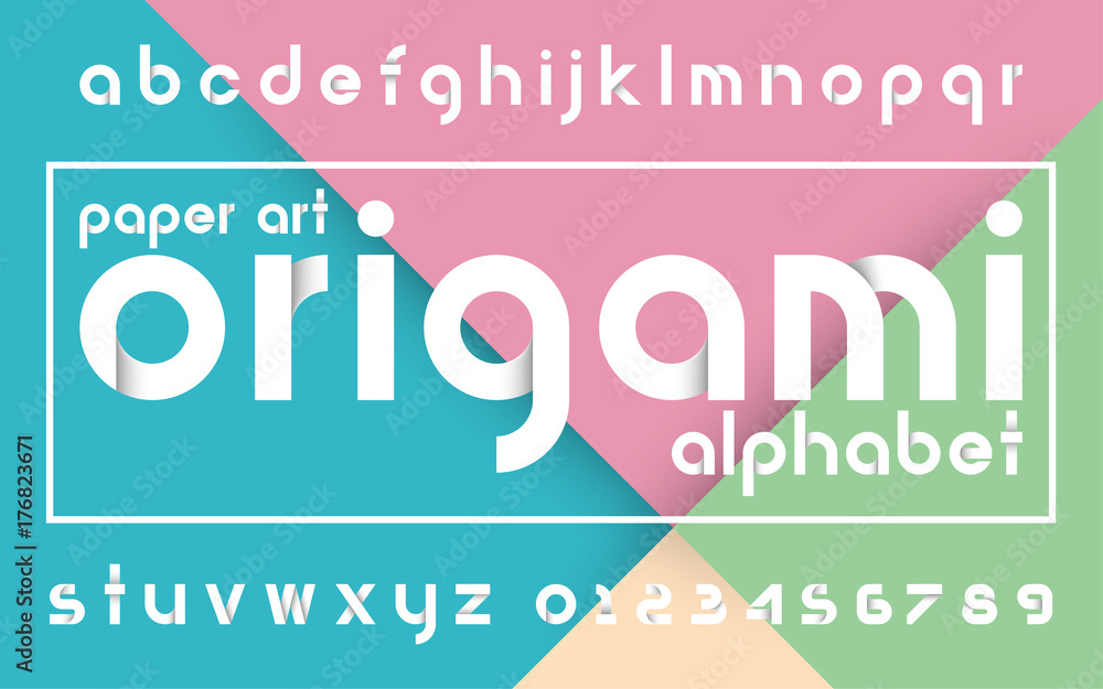 Fototapeta Decorative origami alphabet vector fonts and numbers.Typography design for headlines, labels, posters, logos, cover, etc.
