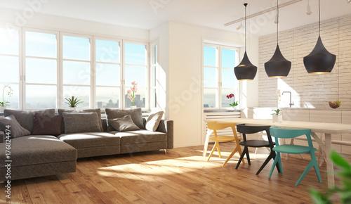 Cucina e soggiorno moderni, con parquet, stanza luminosa ...