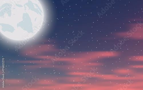 Zdjęcie XXL Nocne niebo z księżycem i gwiazdami. Ilustracji wektorowych
