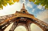 Fototapeta Fototapety z wieżą Eiffla - Eiffel Tower in Paris France with Golden Light Rays.