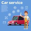 Cars tips vector illustration. auto mechanic with wrench against the red car on background