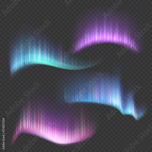 Fotografía Northern aurora lights strips isolated on transparent background