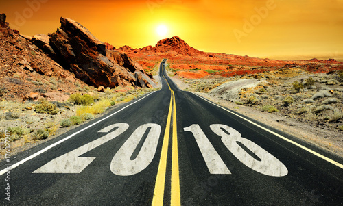 Fotobehang Route 66 Road to New Year 2018