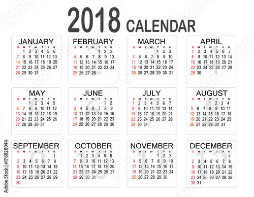 Year Calendar Buy : Simple year calendar on white background