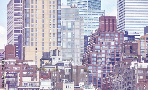 Fototapeta Rocznik tonujący obrazek Manhattan budynki, Miasto Nowy Jork, usa.