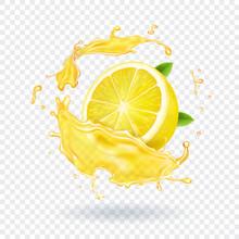 Lemon Fruit Juice Splash Reali...