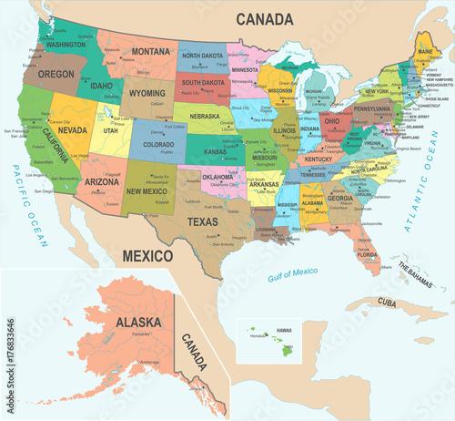 Zdjęcie XXL Mapa Stanów Zjednoczonych - ilustracji wektorowych
