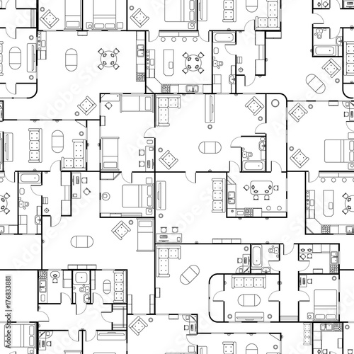 Fototapeta Black and white house floor plan with interior details, seamless pattern obraz