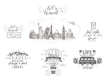 World Travel , Sights And Transport. Set Of Tourism Banners With Hand-lettering Quotes.