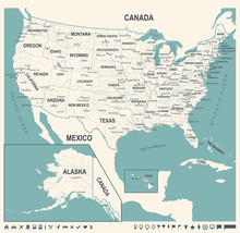 United States Map - Vintage Vector Illustration