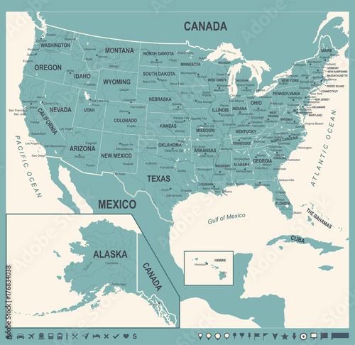 Zdjęcie XXL Mapa Stanów Zjednoczonych - Vintage Vector Illustration