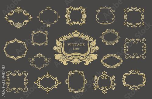 Foto  Set of gold vintage floral frames and monograms.