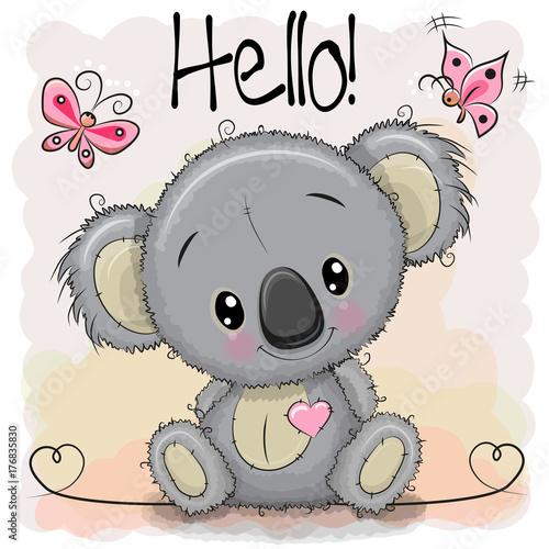 Fototapeta premium Greeting card Cute Cartoon Koala