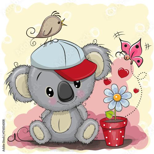 Fototapeta premium Kreskówka Koala z kwiatem
