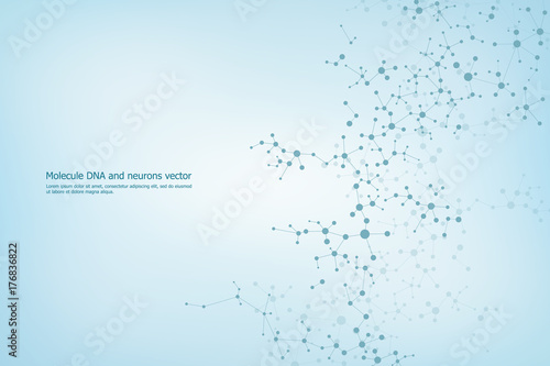 Fotografía  Abstract molecule background, genetic and chemical compounds, medical, technolog