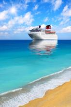 Big Cruise Liner Moored In Mediterranean Sea.