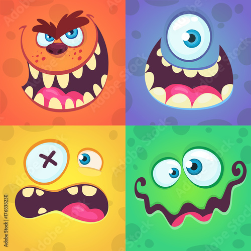 Fotografía Cartoon monster faces set