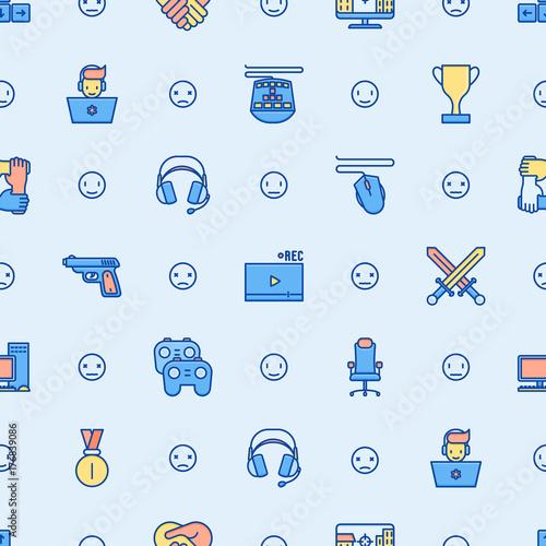 cybersport-bez-szwu-z-ikonami-cienkich-linii-gracz-gry-komputerowe-komputer-zestaw-sluchawkowy-mysz-kontroler-gier-nowoczesne-ilustracji