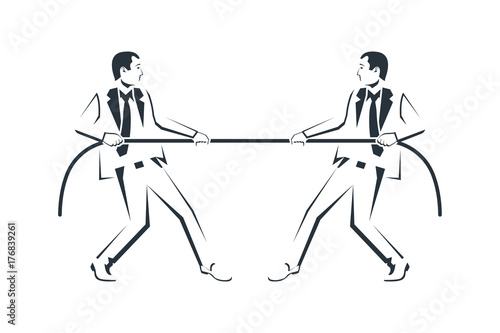 Tug Concept Silhouette Two Businessmen In Suits Pull The Rope