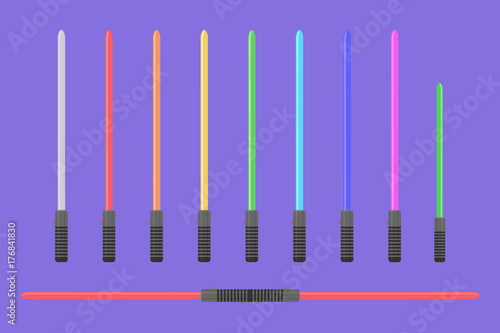 Set of flat light sabers. Collection of futuristic swords Canvas-taulu
