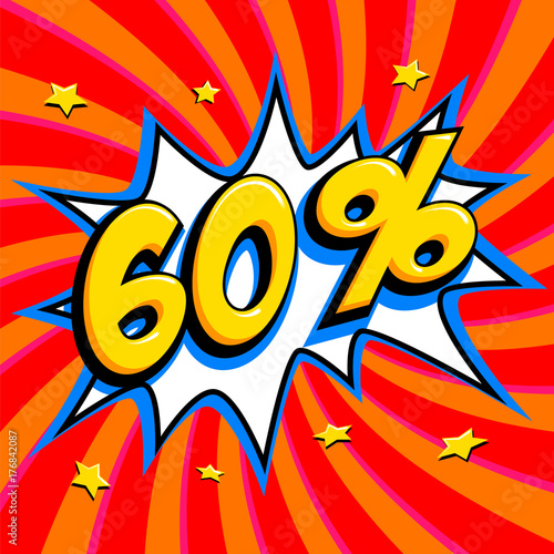 0be77d632 60 off. Sixty percent 60 off sale on red twisted background. Comics pop-
