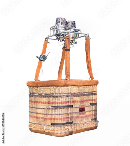 Empty hot air balloon basket isolated on white background with clipping path