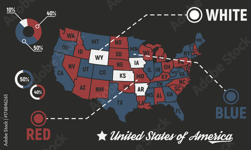 poster map of united states of america with state names usa map infographics template