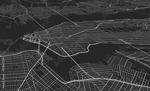 Zdjęcie XXL Wektorowa czarna mapa Nowy Jork