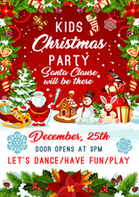 Christmas Santa Gifts Tree Party Vector Poster