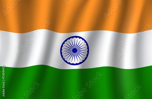 Plakat Indyjski flaga 3d wektor, narodowy sztandar India