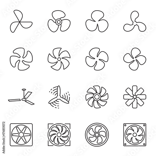 Fan Icons Collection Of 16 Linear Symbols Isolated On A White