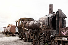 Old Rusty Train  In The Cemetery Of Old Trains In Uyuni, Bolivia
