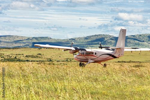 Plakat Mały pasażerski samolot śmigłowy wylądował na zielonej łące