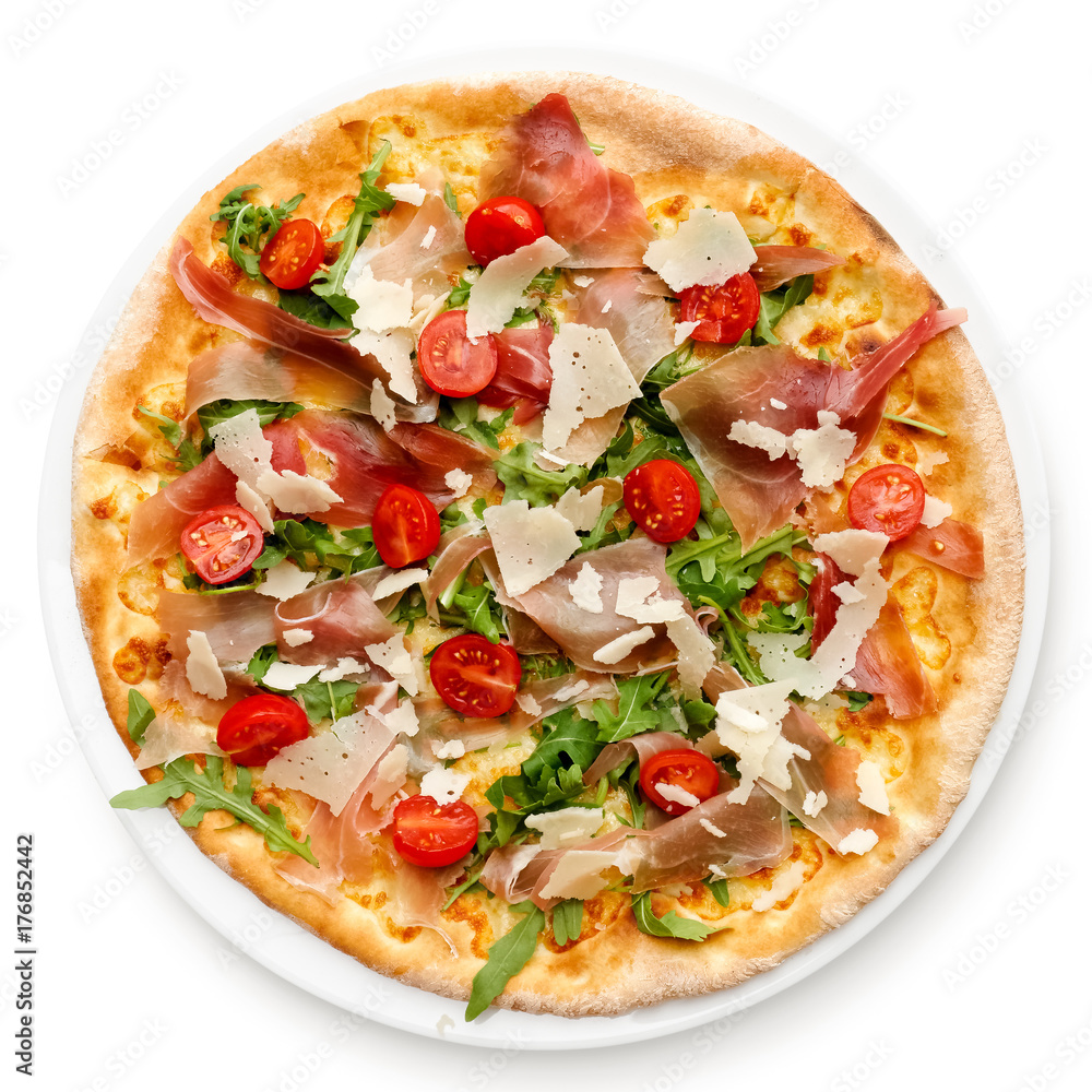 Prosciutto pizza with cherry tomatoes and rucola isolated on white from above.